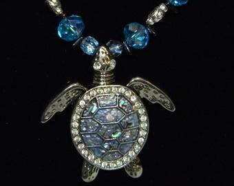Sea turtle glass bead necklace