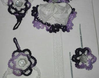 Headband and clips and molette all coordinates