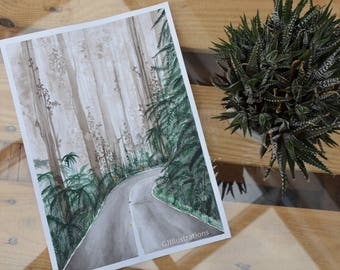 Original watercolor painting 'forest'