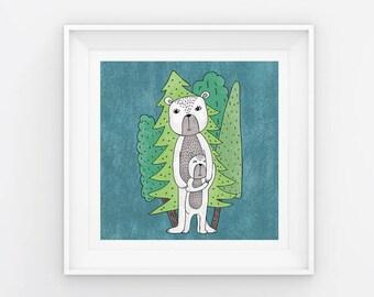 Mama Bear / 180mm x 180mm Digital Art Print / Nursery / Mama Series