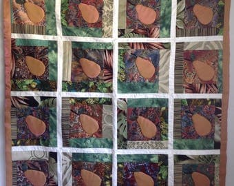"""Heirloom """"Pear"""" Quilt with Appliqué & Embroidery, 46x46 Handcrafted"""