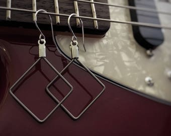 Square Guitar String Earrings