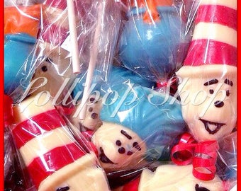 12 Dr Seuss chocolate lollipops (Birthday, dr seuss party favors, thing 1, thing 2,cat in the hat, baby shower)