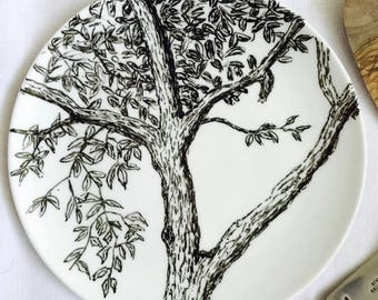 """Porcelain plate painted by hand, original drawing titled """"window"""""""