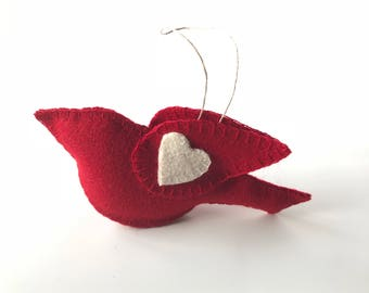 Love Birds - Nature Lover - Wool Felt Bird - Valentine's Day Gift - Gift for Girlfriend - Nature Lover Gift - Window Decoration - Red Bird