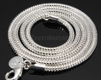 """925 Sterling Silver  18"""" and 20""""  3mm thick Snake Chain Necklaces,come with nice Satin Bag"""