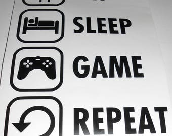 Eat sleep game repeat gaming vinyl decal sticker