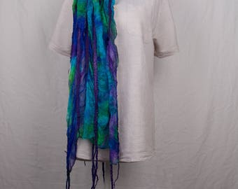 Nuno felted scarf, with silk wool and bamboo, purple/blue/turkois/green