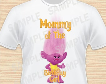 Mommy of the Birthday Girl. Moxie, Trolls Digital File. Personalized Family Shirts, Birthday Party, Iron on Transfer, Printable 2. Instant