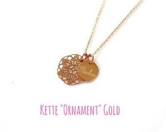 Chain ~ ornament ~ engraving ~ 925 Silver ~ Rosé gold