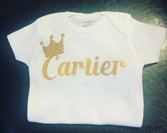 Personalized Name with crown onesie