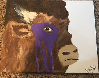 Bison painted on canvas with acrylic paint