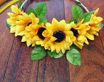 Sunflower floral crown with gold sparkle and bead work