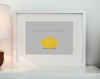Lemon print, Funny fruit, Fabric effect, wall art