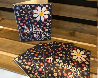 Set of 5 Cheery Thinking of You Cards, Blank Inside to Write Your Own Sentiments, Flowered Background Embellished with Happy White Flowers