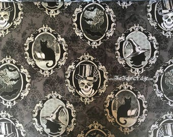 Fright Night, Cameos, Metallic, Henry Glass, Halloween, Fabric by the Yard, Black Cat, Owls, Witch, Skull, Fabric, BTY, TheFabricEdge