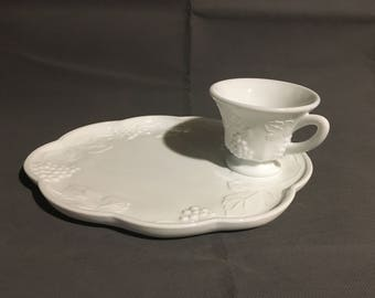 Vintage Milk Glass Luncheon Snack High Tea Set with Plate and Tea Cup Grape and Leaf Motif