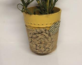 Repurposed glass indoor plant pot, repurposed rocks liquor glass, distressed succulent/bamboo/small planter, repurposed cup planter