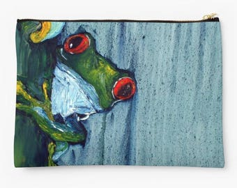 Frog Zippered Clutch. Studio Bag. Pencil Case. Zippered Purse. Small Pouch. Large Pouch. Zippered Pouch. Back to School