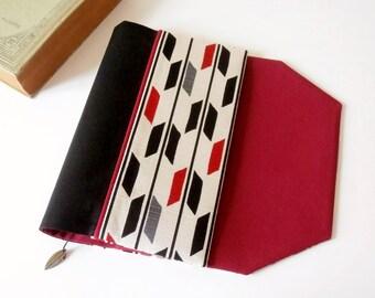 Protège-livre de poche en tissu ajustable avec marque-page (Tissu japonais à motif flèche/noir_blanc_rouge)