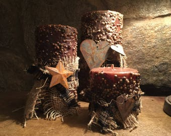 Handcrafted Primitive Candles-Set of 3
