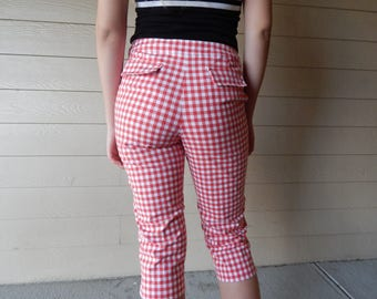 Vintage Red and White Gingham/Checkered Capris