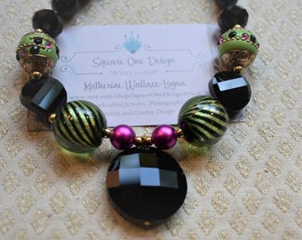 Black Onyx with Pink and Green 'Festival' Necklace