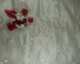 Ivory Pearl Beaded Flower Satin