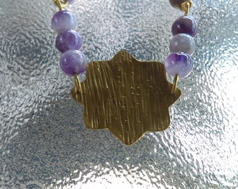 Brass With Gold Filled Chain And Chevron Amethyst Bead's