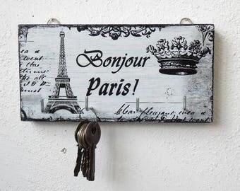 Key holder Bonjour Paris, key holder for wall, key  storage, small key organize, key holders, wooden key holder, white key rack,
