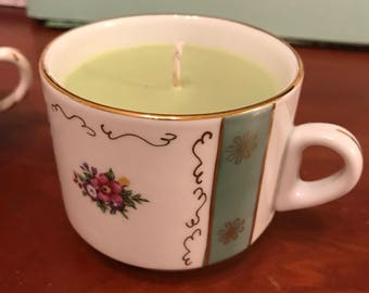 Large Green Apple Teacup Candle in Avocado