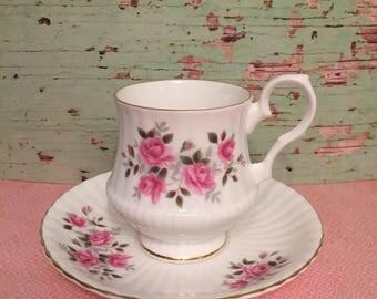 Royal Windsor Fine Bone China teacup. Pink Roses on white with unique shspe.