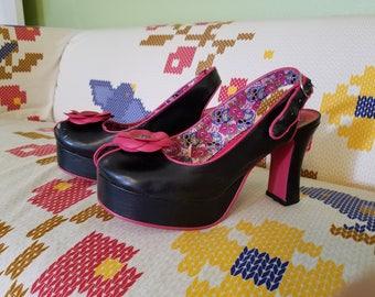 Pin Up Floral Heels - Black & Pink - Size 10