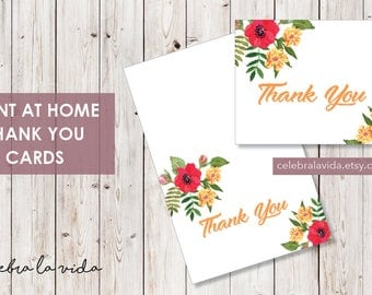 Thank You Card. Instant Download. Printable Thank You Card. Yellow Flowers. Red and Orange - 02