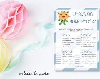 What's on Your Phone? Baby Shower Game. Instant Download. Printable Baby Shower Baby Boy Game. Blue