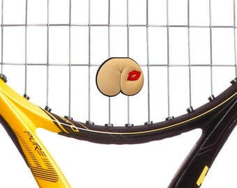 Kiss My Butt Tennis Vibration Dampener 2-Pack. Tennis Racket Shock Absorber by Racket Expressions. Great tennis gifts and tennis team gifts!
