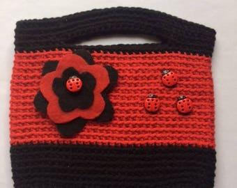 Red Ladybugs Crochet Handbag
