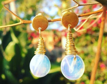 Opalite earrings, opalite stone, sea opal glass , sea opal earrings, boho earrings, boho chic jewerly