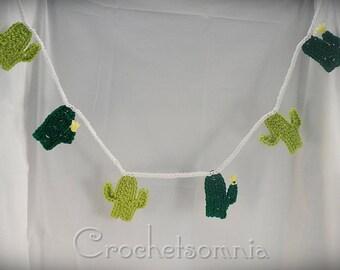 Crochet Dark & Light Green Cactus Banner