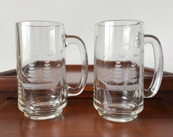 Set of two vintage nautical beer mugs, coastal style beer mugs, etched beers mugs, vintage beer glasses