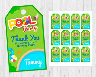 Summer Pool Party THANK YOU TAGS, Pool Party Favor Tag, Pool Party Gift Tag, Pool Party Birthday Tag, Pool Party Tag, Pool Party Label, C-I4