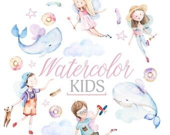 watercolor kids clipart