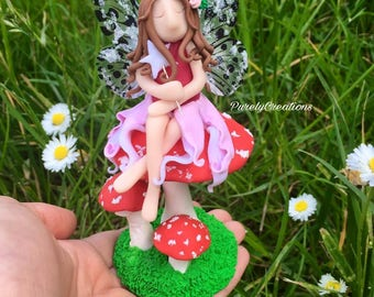 "polymer clay toadstool fairy ornamnet handmade fairy and toadstool sculpture 5"" high"