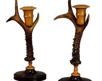 rustic wood and antler candleholders