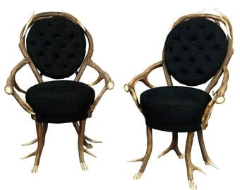 pair of rare antler parlor chairs, french ca. 1860
