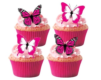 24 x Pink Butterfly Butterflies Wedding Birthday STAND UP Edible Premium Rice Paper Card Fairy Cup Cake Toppers Decoration