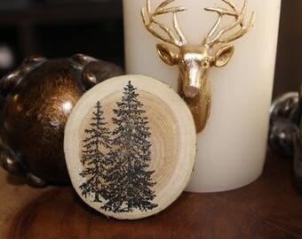 Pine Tree Wood Chip Magnet