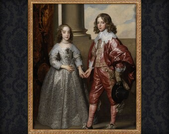 Brother and Sister Portrait, Custom Family Portrait, Family Regal Portrait, Portrait of Sister, Portrait of Brother, Painting from photo