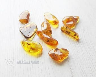 Loose amber stone for jewelry making. Amber stones. Baltic amber wholesale stones. 9 unitsm yellow amber stones. SM04