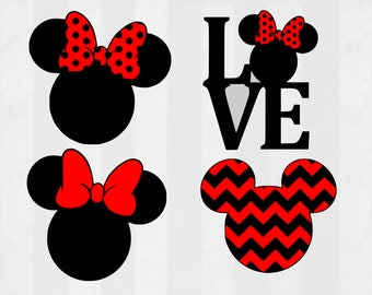 Minnie Mouse SVG Bundle, Minnie Mouse clipart, Minnie cut files, svg files for silhouette, files for cricut, svg, dxf, eps, cuttable design